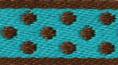 Trim XX - brown polka dots, turquoise background