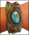 Turquoise Bead Embroidered Cuff Bracelet Mini-Thumbnail