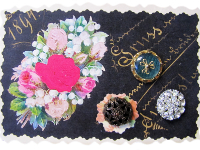 VINTAGE Miscellaneous Buttons on Card with Bouquet of Flowers