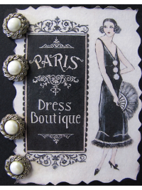 VINTAGE Buttons on Paris Dress Boutique Card with French Woman