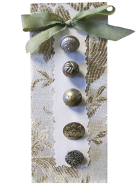 VINTAGE Miscellaneous Metallic Buttons on Card with Off-White and Taupe Tapestry