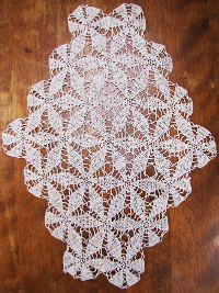 Vintage Ivory Lace Doily with Six Point Flower Design