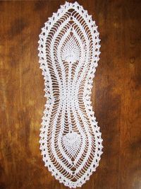 Vintage Crocheted Peacock Feather Doily