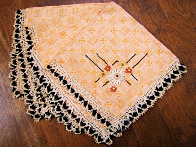 Vintage Embroidered Napkins – Orange with Black and Cream Lace