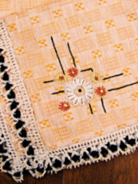 Vintage Embroidered Napkins – Orange with Black and Cream Lace THUMBNAIL