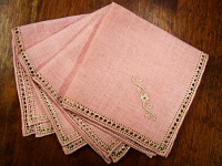 Vintage Embroidered Napkins – Dusty Rose with Cream Embroidery_THUMBNAIL