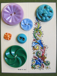 VINTAGE Colorful Plastic Buttons on Card with Floral/Leafy Design