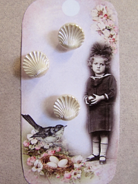 VINTAGE Pearlescent Cream Colored Seashell-Shaped Buttons on Card with Little Girl and Bird