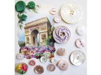 VINTAGE Miscellaneous Buttons on Card with Arc de Triomphe