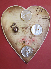 VINTAGE Buttons and Charms on Heart-Shaped Paris Card