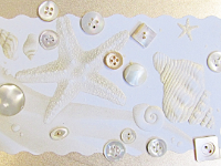 VINTAGE Ivory-Colored Pearlescent Buttons on Card with Seashells