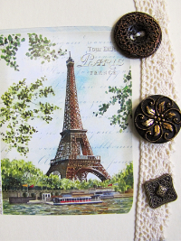 VINTAGE Dark Bronze and Brown Buttons on Card with Eiffel Tower