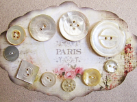 VINTAGE Ivory-Colored Pearlescent Buttons on Paris Card