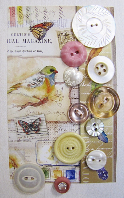 VINTAGE Miscellaneous Buttons on Card with Bird and Butterflies