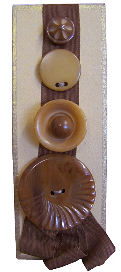 VINTAGE Tan and Brown Buttons on Tan Card