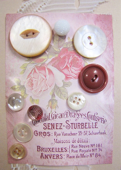 VINTAGE Pink and White Buttons on Card with Pink Roses