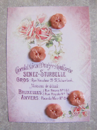 VINTAGE Pink Flower Buttons on Card with Pink Roses