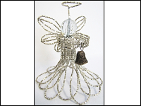 French Beaded Guardian Angel & Beaded Snowflake Ornament