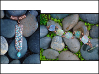 Monet Garden Link Bracelet and Rainwater Pendant Necklace