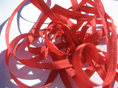 YLI Silk Ribbon, 4mm — 089 (orange red)