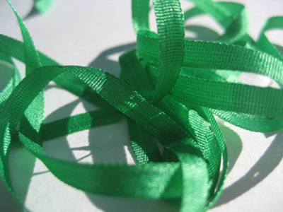 YLI Silk Ribbon, 4mm — 096 (primary green)