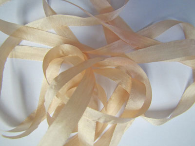 YLI Silk Ribbon, 7mm — 105 (peach meringue)