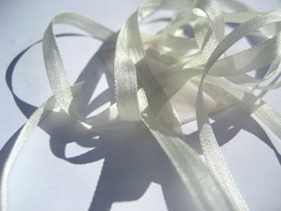 YLI Silk Ribbon, 7mm — 155 (hint of green)