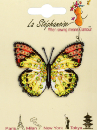 Butterfly Appliqué by La Stéphanoise - # 15338 col. 009 - Yellow and Orange