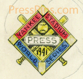 1941 Yankees Original Press Pin Artwork SWATCH