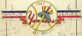 1947 Yankees Original Press Pin Artwork SWATCH