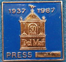 1987 Del Mar  Horse Racing Press Pin MAIN