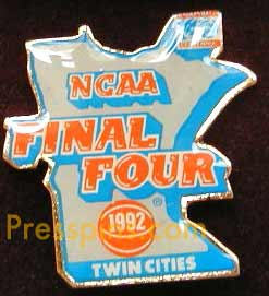 1992 NCAA Final Four Press Pin (Twin Cities)