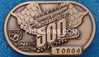 1996 Bronze Indianapolis 500 Pit Badge