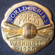 1925 Washington Senators World Series Press Pin MAIN