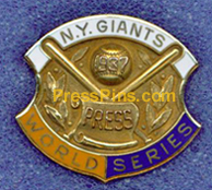 1937 New York Giants World Series Press Pin