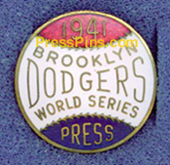 1941 Brooklyn Dodgers World Series Press Pin