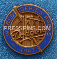 1947 Brooklyn Dodgers World Series Press Pin MAIN