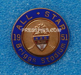 1951 Detroit All-Star Press Pin