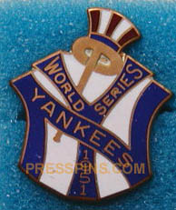1951 New York Yankees World Series Press Pin