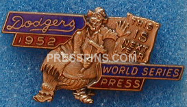 1952 Brooklyn Dodgers World Series Press Pin MAIN