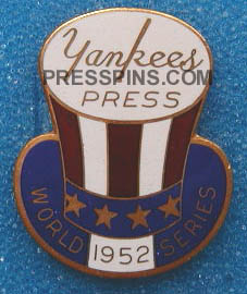 1952 New York Yankees World Series Press Pin MAIN
