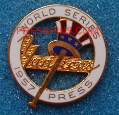 1957 New York Yankees World Series Press Pin