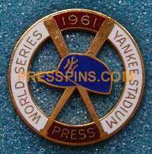 1961 New York Yankees World Series Press Pin MAIN