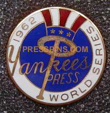 1962 New York Yankees World Series Press Pin MAIN