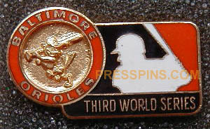 1970  Baltimore Orioles World Series Press Pin MAIN