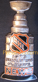 1973 NHL News Stanley Cup Press Pin