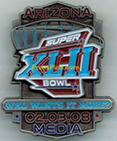 2008 Super Bowl XLII Media Pin MAIN