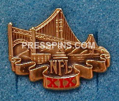 1985 Super Bowl XIX Press Pin