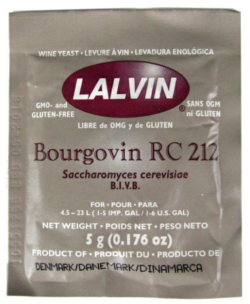 Lalvin Bourgovin RC-212 Active Freeze Dried Wine Yeast