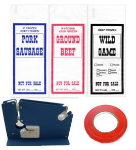 Ground Meat Packing Kit/ SS Tape Machine, 200 1lb GB Bags